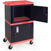 H. Wilson WT50-B Red Industrial Plastic Shelf Mobile Storage Cabinet Truck 250 Lb. Cap.