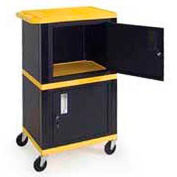 H. Wilson WT50-B Yellow Industrial Plastic Shelf Mobile Storage Cabinet Truck 250 Lb. Cap.
