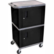 H. Wilson WT50-B Gray Industrial Plastic Shelf Mobile Storage Cabinet Truck 250 Lb. Cap