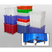 """MODRoto Bulk Container With Lid P341-B-5C - 48x48x46 Dumping Bracket and 5"""" Casters, Red"""