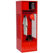 All Welded Gear Locker With Foot Locker Top Shelf Cabinet 24x18x72 Red