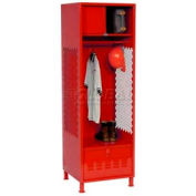All Welded Gear Locker With Foot Locker Top Shelf Cabinet And Legs 24x18x72 Red