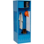 All Welded Gear Locker With Foot Locker Top Shelf Cabinet 24x24x72 Blue
