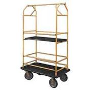Glaro Bellman Condo Cart 40x25 Satin Brass Black Carpet, 4 Rubber Wheels