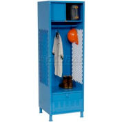 All Welded Gear Locker With Foot Locker Top Shelf Cabinet And Legs 24x24x72 Blue