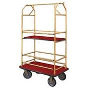 Glaro Bellman Condo Cart 48x25 Satin Brass Burgundy Carpet, 4 Rubber Wheels