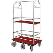 Glaro Bellman Condo Cart 48x25 Satin Aluminum Burdundy Carpet, 6 Pneumatic Wheels