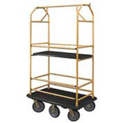Glaro Bellman Condo Cart 48x25 Satin Brass Black Carpet, 6 Rubber Wheels