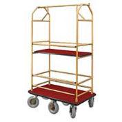 Glaro Bellman Condo Cart 48x25 Satin Brass Burgundy Carpet, 6 Pneumatic Wheels