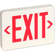 TCPI 22743 Red LED Exit Sign- Universal Mounting w/ Battery Backup & White Housing - 1 or 2 Sided