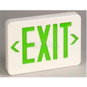 TCPI 22745 Exit Sign Green Led Universal Battery Backup White Housing