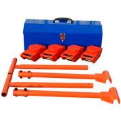 "Vestil Machinery Mover Kit VHMS-2-KIT 4-2000 Lb. Movers, 2-36"" Handles & Toolbox"
