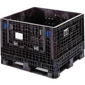 ORBIS BulkPak GP4048-34 Folding Bulk Shipping Container 48 x 40 x 34 2000 lb Capacity Black
