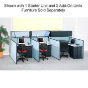 """Pre-Configured Call Center Starter, 60""""W x 48""""D, Blue"""