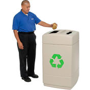 Recycling Plastic Trash Container with Mixed Recyclables/Trash Top - 745510