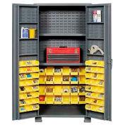 """Jamco Bin Cabinet GR236KM - 14 Gauge Welded with 72 Bins And Shelves Deep Door, 36""""W x 24""""D x 78""""H"""