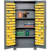 "Jamco Bin Cabinet GM236KH - 14 Gauge Welded with 96 Bins And Shelves Flush Door,36""W x 24""D x 78""H"
