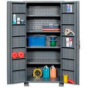"""Jamco Bin Cabinet GR236KZ - 14 Gauge Welded with Louvered Panels, Shelves, Deep Door, 36""""x 24""""x78"""""""
