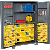"""Jamco Bin Cabinet GR248KJ - 14 Gauge Welded with 84 Bins And Shelves Deep Door, 48""""x24""""x78"""""""