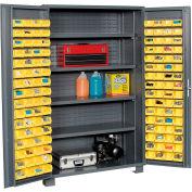 """Jamco Bin Cabinet GR248KG - 14 Gauge Welded with 128 Bins And Shelves Deep Door,48""""W x 24""""D x 78""""H"""