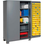 "Jamco Bin Cabinet GM248KG - 14 ga. Welded with 128 Bins And Shelves Flush Door,  48""x24""x78"""