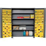 """Jamco Bin Cabinet GR260KD - 14 Gauge Welded with 170 Bins And Shelves Deep Door, 60""""Wx24""""Dx78""""H"""