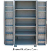 "Jamco Bin Cabinet GR260KV - 14 Gauge Welded with Louvered Panels And Shelves Flush Door, 60"" W"