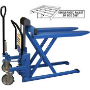 Bishamon Foot Operated High Lift Skid Truck LV-100 2200 Lb. Cap. 20.5 x 42.5 Forks
