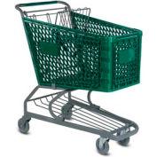 VersaCart® Green Plastic Shopping Cart 5.2 Cu. Foot Capacity 103-145-DGN-BH