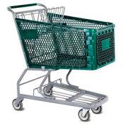 VersaCart® Green Plastic Shopping Cart 6.3 Cu. Foot Capacity 102-165-DGN-BH