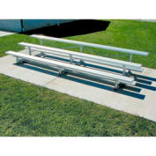 3 Row Tip-N-Roll Aluminum Bleacher, 15'W, Single Footboard
