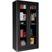 Sandusky Elite Radius Edge Series Clearview Storage Cabinet ER4V362472 - 36x24x72, Black