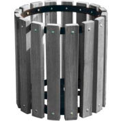 Gray Recycled Plastic Garbage Can - 32 Gallon