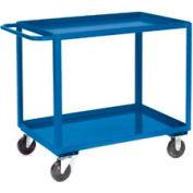 Blue All Welded 2 Shelf Stock Cart 36 x 24 1200 Lb. Cap.