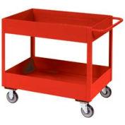 "Jamco Red All Welded 3"" Deep Shelf Cart LT236 2400 Lb. Cap. 36x24"