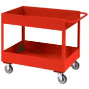 "Jamco Red All Welded 3"" Deep Shelf Cart LT248 2400 Lb. Cap. 48x24"