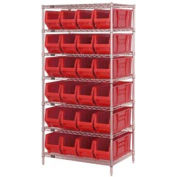 "Quantum WR7-951 Chrome wire Shelving With 24 24""D Hopper Bins Red, 24x36x74"