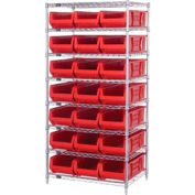 """Quantum WR8-952 Chrome wire Shelving With 21 24""""D Hopper Bins Red, 24x36x74"""