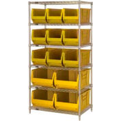 "Quantum WR6-953954 Chrome wire Shelving With 13 24""D Hopper Bins Yellow, 24x36x74"