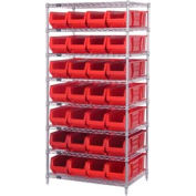 """Quantum WR8-970 Chrome wire Shelving With 28 30""""D Hopper Bins Red, 30x36x74"""