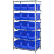 "Quantum WR6-973 Chrome wire Shelving With 15 30""D Hopper Bins Blue, 30x36x74"