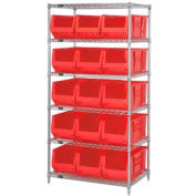"""Quantum WR6-973 Chrome wire Shelving With 15 30""""D Hopper Bins Red, 30x36x74"""