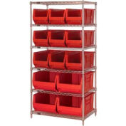 """Quantum WR6-973974 Chrome wire Shelving With 13 30""""D Hopper Bins Red, 30x36x74"""