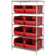 "Quantum WR5-993 Chrome Wire Shelving With 8 36""D Hopper Bins Red, 36x36x86"
