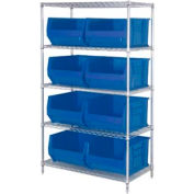 "Quantum WR5-995 Chrome Wire Shelving With 8 36""D Hopper Bins Blue, 36x48x86"