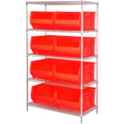 """Quantum WR5-995 Chrome Wire Shelving With 8 36""""D Hopper Bins Red, 36x48x86"""