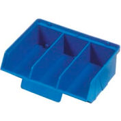 "Quantum Plastic Stack And Lock Bin QCS320 with ID Tab-3 Compartments 8-7/8""W x 7""D x 2-7/8""H Blue - Pkg Qty 24"
