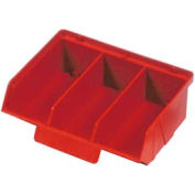 "Quantum Plastic Stack And Lock Bin QCS320 with ID Tab-3 Compartments 8-7/8""W x 7""D x 2-7/8""H Red - Pkg Qty 24"