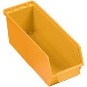 """Quantum Plastic Stack And Lock Bin QCS35 with ID Tab 4-5/8""""W x 14""""D x 4-7/8""""H Yellow - Pkg Qty 12"""