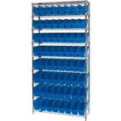 "Quantum WR9-203 Chrome Wire Shelving with 64 6""H Plastic Shelf Bins Blue, 36x18x74"